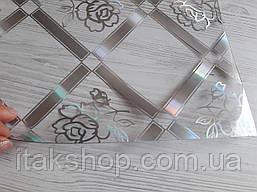 Мягкое стекло Скатерть с лазерным рисунком Soft Glass 1.4х0.8м толщина 1.5мм Серебристая роза в квадрате, фото 3