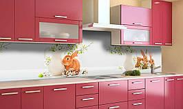Вініловий 3Д кухонний фартух Великодні Зайці самоклеюча плівка ПВХ скіналі Тварини Бежевий 600*2500 мм