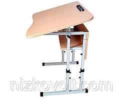 Стол ученический 1-местный регулируемый по высоте с передней панелью и полой