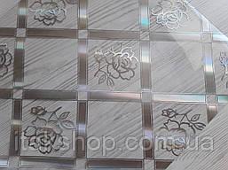 Мягкое стекло Скатерть с лазерным рисунком Soft Glass 1.5х0.8м толщина 1.5мм Серебристая роза в квадрате, фото 2