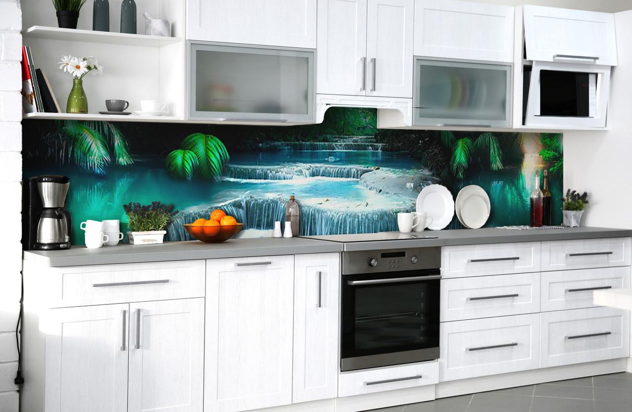 Вініловий 3Д кухонний фартух Тропічна річка самоклеюча плівка ПВХ скіналі водоспад пальми Блакитний 600*2500