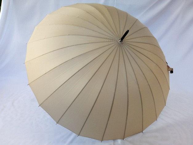 Бежевый однотонный женский зонт трость на 24 спицы