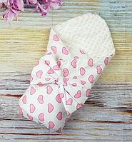 Конверт одеяло на выписку для новорожденных Сердечки демисезонный хлопок + плюш Минки ванильный