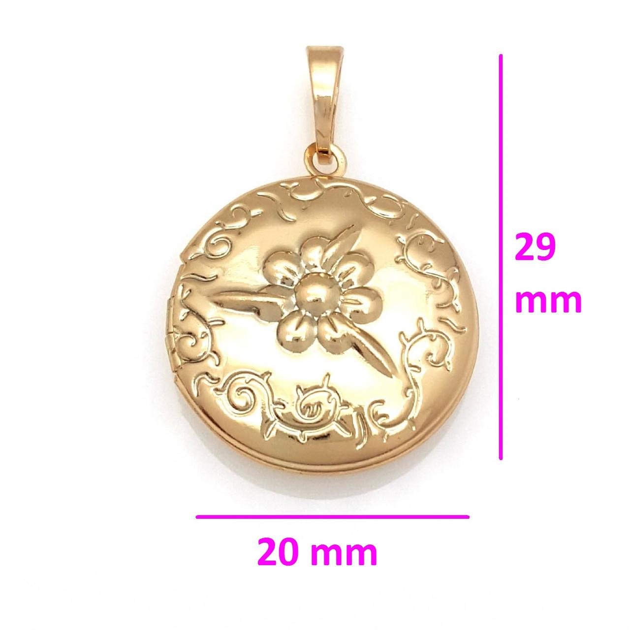 Кулон-медальон, Круг с цветочным рисунком, позолота