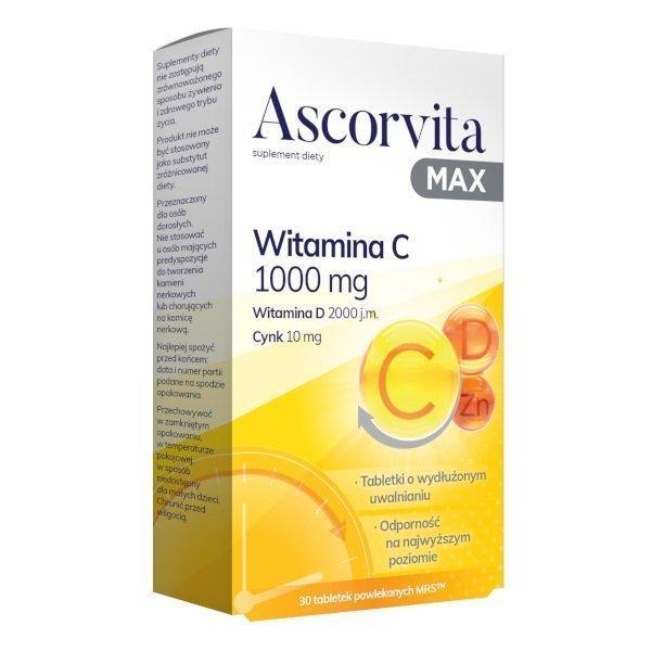 Аскорвіта макс таблетки № 30 (вітамін С 1000мг., D 2000МО+ цинк 10мг.) аскорвита