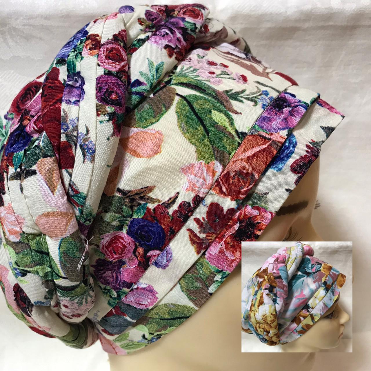 Летняя белая  в цветах  бандана-шапка-косынка-чалма-тюрбан разноцветный