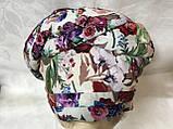 Летняя белая  в цветах  бандана-шапка-косынка-чалма-тюрбан разноцветный, фото 2