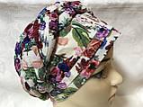 Летняя белая  в цветах  бандана-шапка-косынка-чалма-тюрбан разноцветный, фото 3
