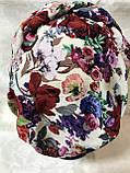 Летняя белая  в цветах  бандана-шапка-косынка-чалма-тюрбан разноцветный, фото 5