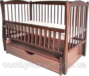 Кроватка детская Дубок Элит 2 маятник/ящик откидной бортик орех