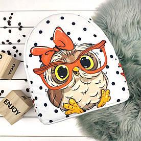 Рюкзак Moderika Arco білий з малюнком Совушка в окулярах (78133)