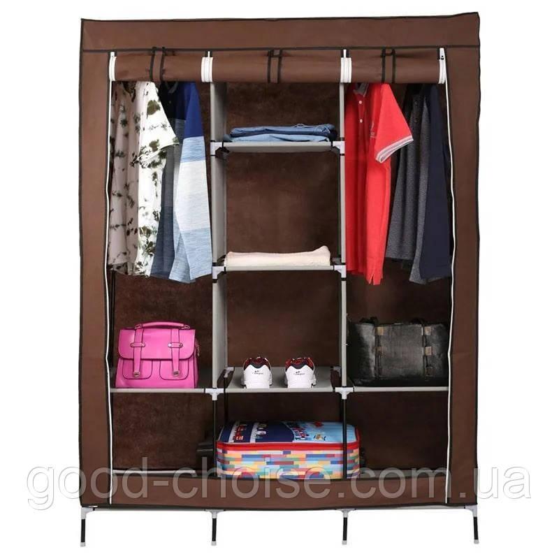 Тканевый складной шкаф для одежды и обуви 175х130х45 см Storage Wardrobe 88130 / Каркасный органайзер