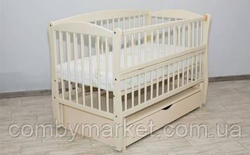 Кроватка детская Дубок Элит 2 маятник/ящик откидной бортик слоновая кость