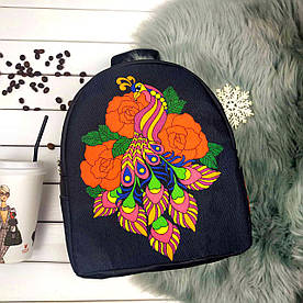 Рюкзак Moderika Arco черный с рисунком Птица в цветах (77703) 1252637596