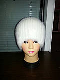 Меховая шапка  из  белой норки  на вязанной  основе, фото 4