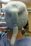 Меховая шапка  из  белой норки  на вязанной  основе, фото 5