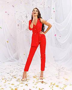 Комбинезон женский брючный 1 рукав имитация пиджака AniTi 162, красный