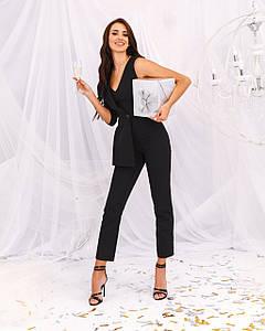 Комбинезон женский брючный 1 рукав имитация пиджака AniTi 162, черный