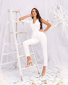 Комбинезон женский брючный 1 рукав имитация пиджака AniTi 162, белый