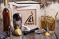 """Ящик 4MAN """"Бармен"""". Подарочные наборы бармена. Бокс подарок барного инвентаря в ящике с ломом. Подарок мужчине"""
