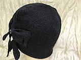 Чёрная шапочка по голове с бантом, фото 2