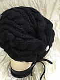 Молодёжная  двойная шапка с крупными камнями, фото 3