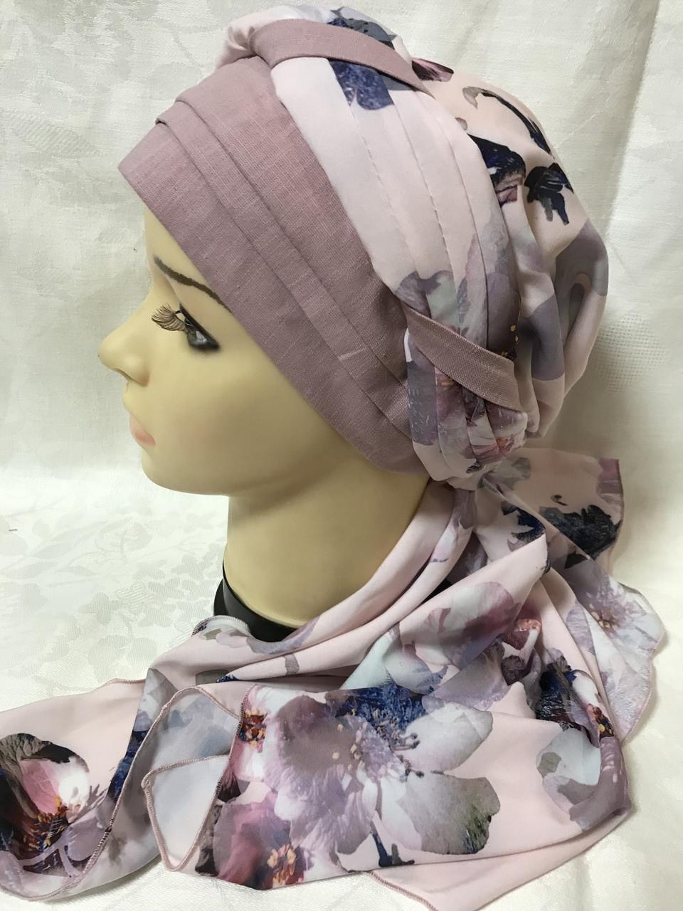 Летняя бандана-косынка-тюрбан  с объёмной драпировкой розовый  и терракотовый