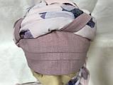 Летняя бандана-косынка-тюрбан  с объёмной драпировкой розовый  и терракотовый, фото 3