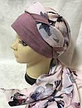 Летняя бандана-косынка-тюрбан  с объёмной драпировкой розовый  и терракотовый, фото 4