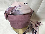 Летняя бандана-косынка-тюрбан  с объёмной драпировкой розовый  и терракотовый, фото 5
