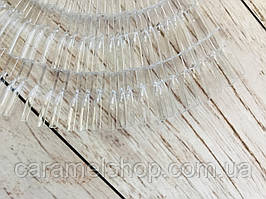"""Палитра - веер типсы для лака на кольце на 50 типсов, """"Мягкий квадрат"""" (ПО ТРИ), 12.8 см. Прозрачный"""