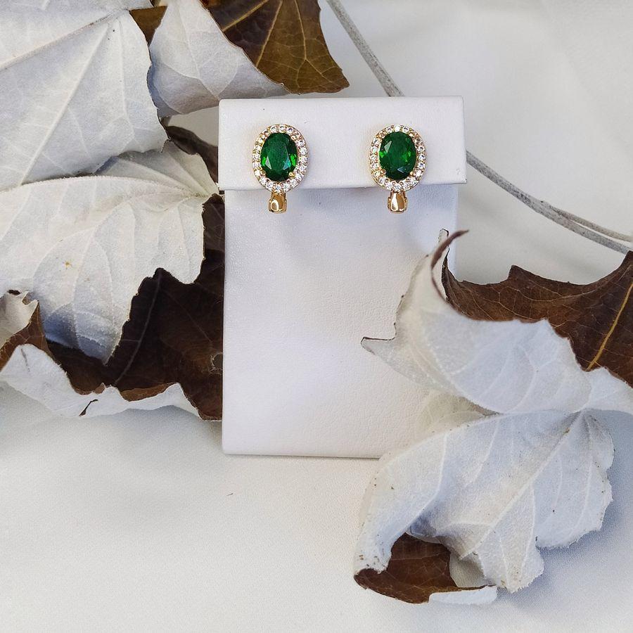 Серьги овальные с зеленым камнем 119 0800