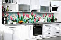 Виниловый 3Д кухонный фартук Пышные Тюльпаны (самоклеющаяся пленка ПВХ скинали) розовые белые Цветы Голубой 600*2500 мм, фото 1