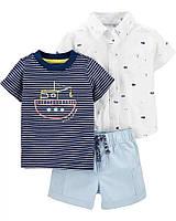 Детский комплектик - футболочка, тенниска и шортики на морскую тематику Картерс для мальчика