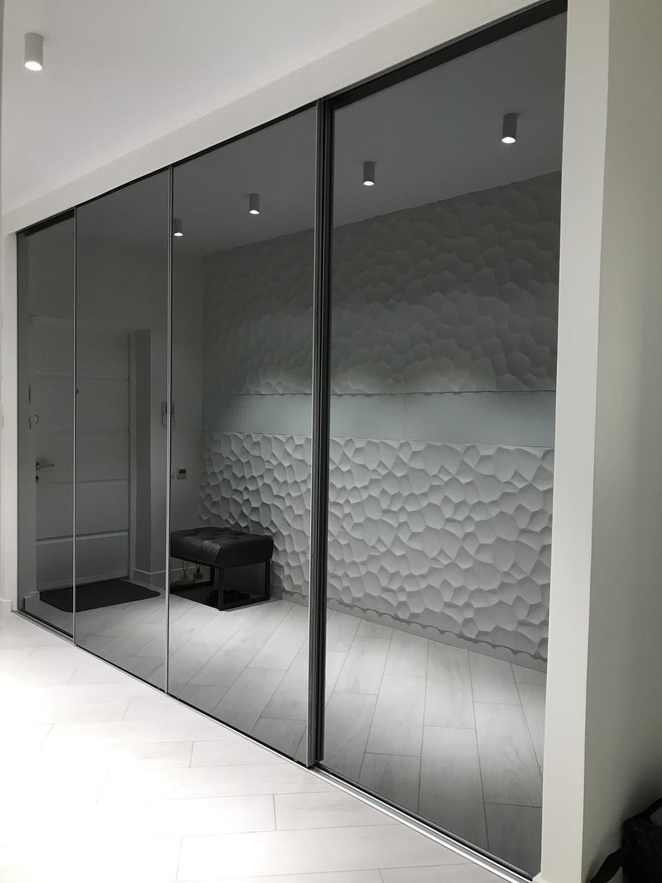 Шкаф купе на заказ встроенный с графитовыми зеркалами PREMIUM SLIM GRAFIT