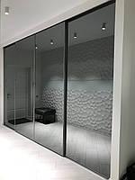 Шкаф купе на заказ встроенный с графитовыми зеркалами PREMIUM SLIM GRAFIT, фото 1
