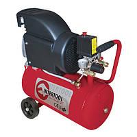 Компрессор поршневой с прямым приводом 1.5 кВт, ресивер 24 л, 206 л/мин, 8 Атм, 220 В Intertool