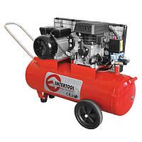Компрессор двухпоршневой с ременным приводом 1.8 кВт, ресивер 50 л, 233 л/мин, 8 Атм, 220 В Intertool