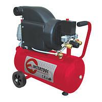 Компрессор поршневой с прямым приводом 1.5 кВт, ресивер 24 л, 190 л/мин, 8 Атм, 220 В Intertool