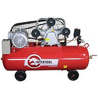 Компрессор трехпоршневой с ременным приводом 4 кВт, ресивер 100 л, 600 л/мин, 8 Атм, 220 В Intertool