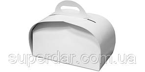 Упаковка для шматочків торта, тістечок та інших виробів, 120х210х110 мм, біла СД01-04