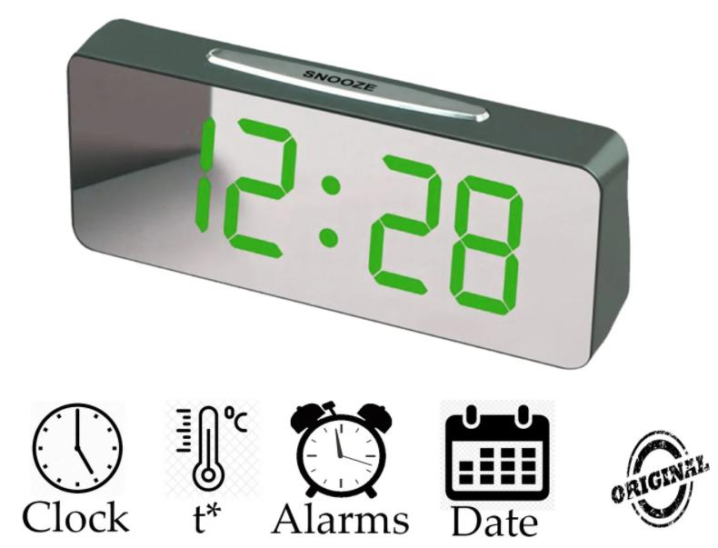 """Великі настільні годинники будильник VST-763Y Зелені Цифри (дзеркальний диспелей 7,8"""")"""