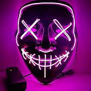 Неоновая Маска LED Светящаяся Судная Ночь Фиолетовый