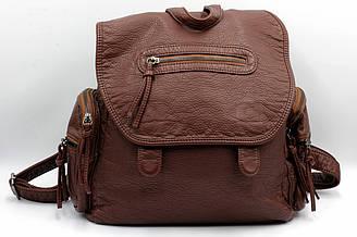 Стильный женский городской рюкзак большого размера из мягкого кож-зама коричневого цвета.