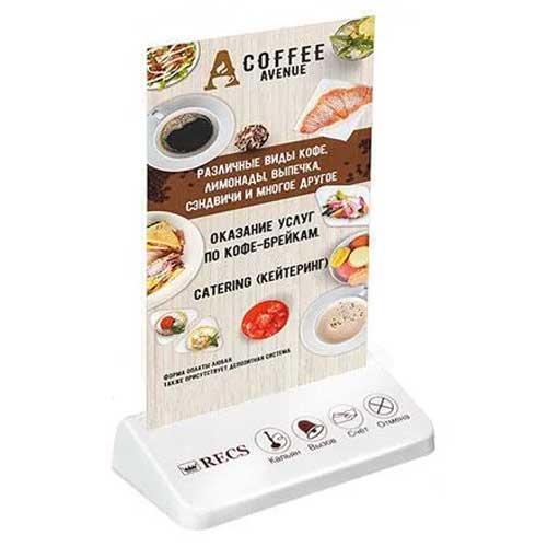 Многофункциональная кнопка вызова официанта с холдером для рекламы RECS R-304 White Holder
