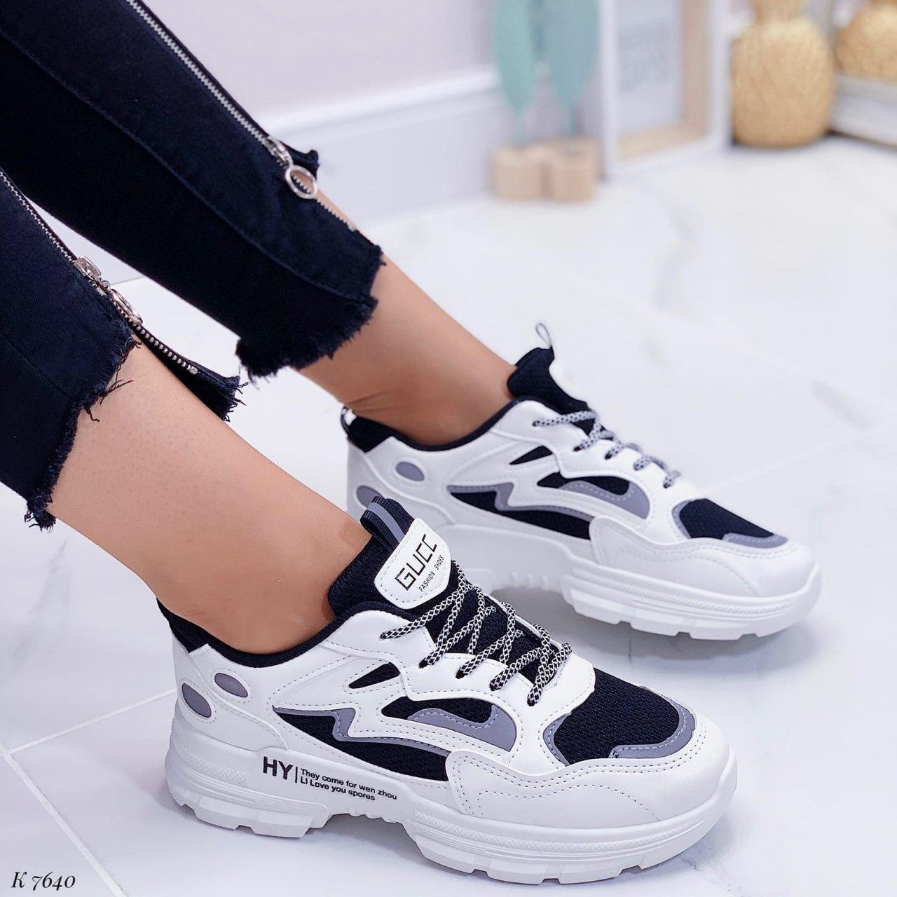 Кроссовки женские белые + черные из эко кожи. Кросівки жіночі білі + чорні