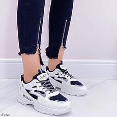 Кроссовки женские белые + черные из эко кожи. Кросівки жіночі білі + чорні, фото 2