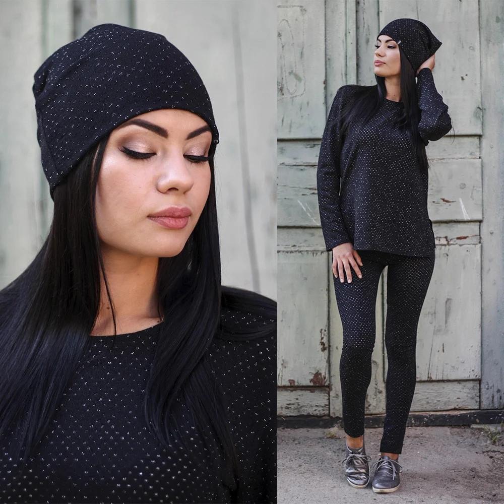 Женская ангоровая шапка с блестящей нитью