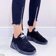 Кроссовки женские черные на платформе из эко замши. Кросівки жіночі чорні на платформі, фото 2