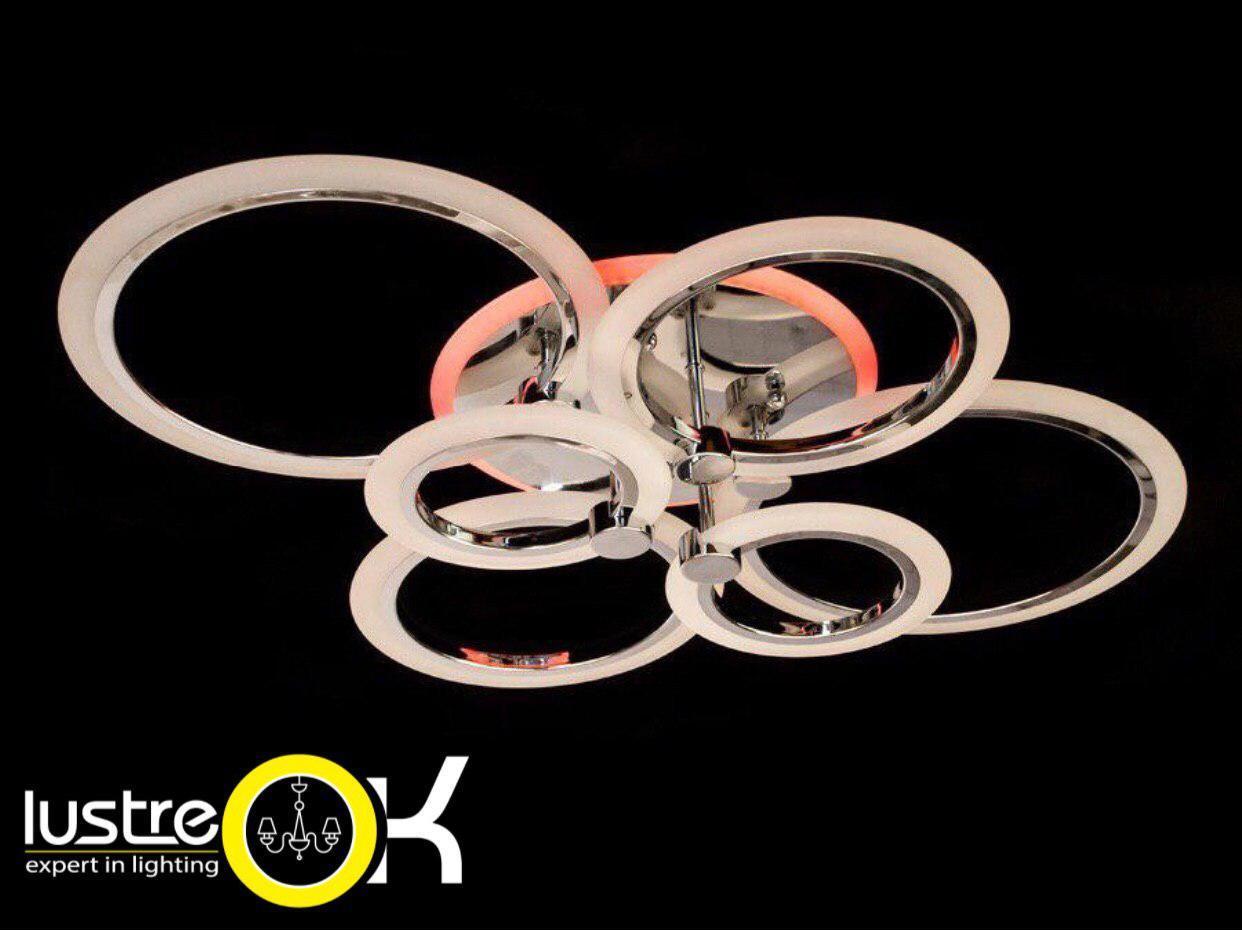 Люстра светодиодная потолочная 125 ват А8022/6 Хром LED Dimmer Люстра с пультом управления